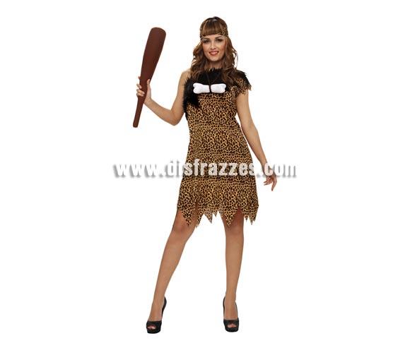 Disfraz de Troglodita o Cavernícola para mujer. Talla Standar M-L = 38/42. Incluye vestido, cinta de la cabeza y porra.