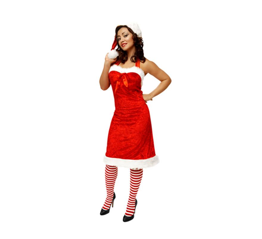Vestido o disfraz de Mama Noel para mujer. Talla M-L = 38/42. Incluye gorro, vestido y medias.