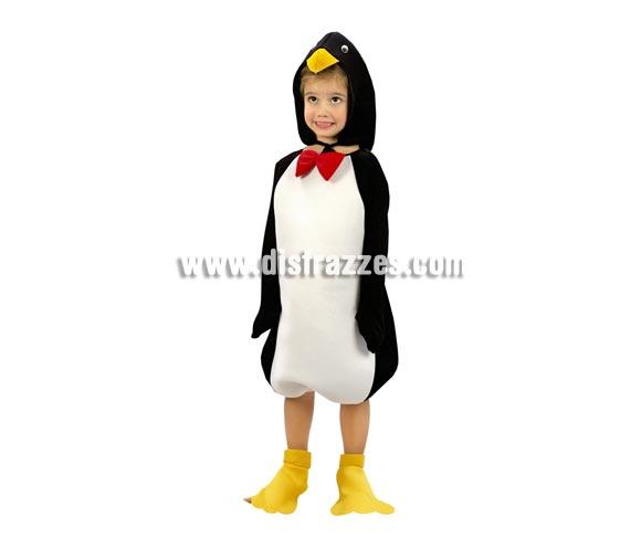 Disfraz de Pingüino para niños de 7 a 9 años. Incluye disfraz, cubrepies y gorro.