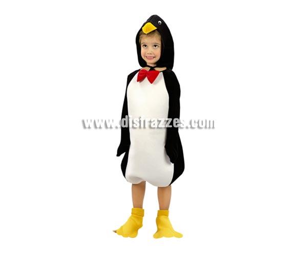 Disfraz de Pingüino para niños de 10 a 12 años. Incluye disfraz, cubrepies y gorro.