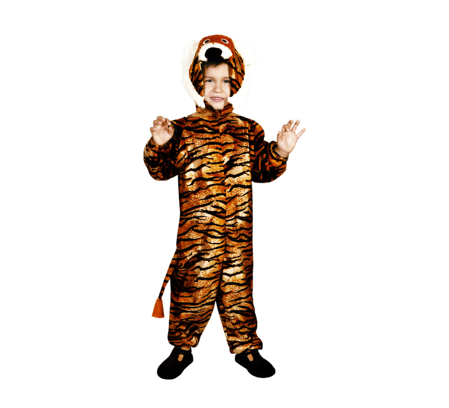 Disfraz de Tigre para niños de 5 a 6 años. Incluye traje y gorro.