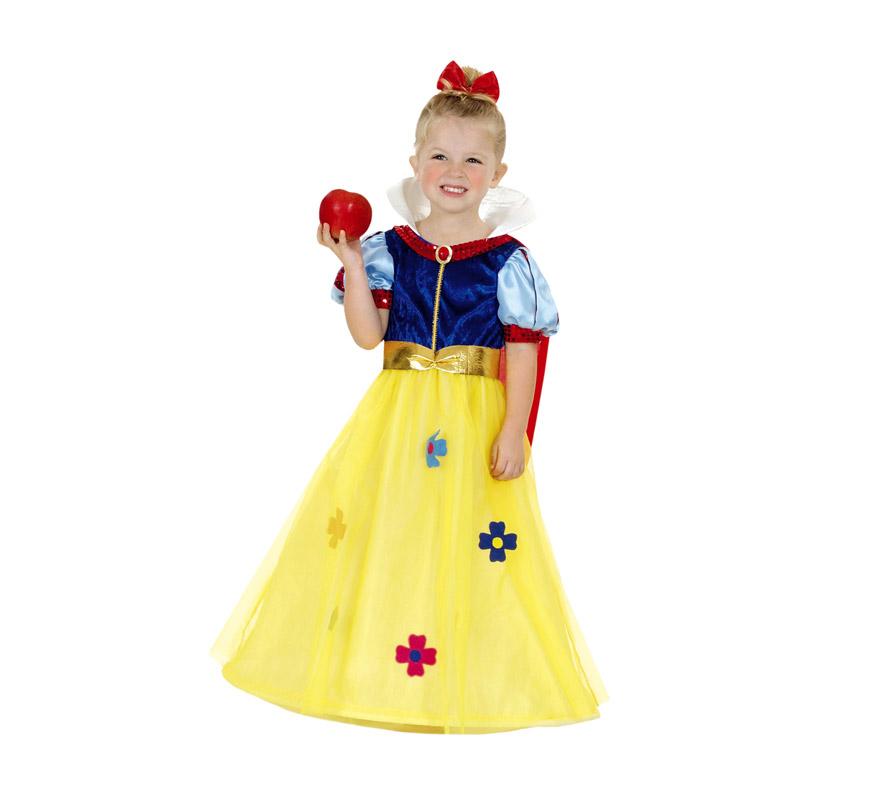 Disfraz de Blancanieves o Princesa del Bosque infantil para niñas. Talla de 7 a 9 años. Incluye sólo vestido y tocado.