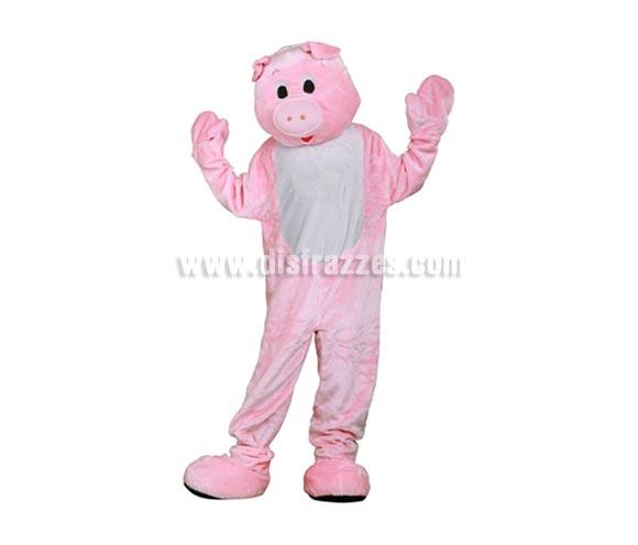 Disfraz o Mascota Cerdo. Talla Universal de adultos. Incluye cabeza, mono con guantes y cubre zapatos. Perfecta para Grupos de Animación Infantil, Hoteles, etc.