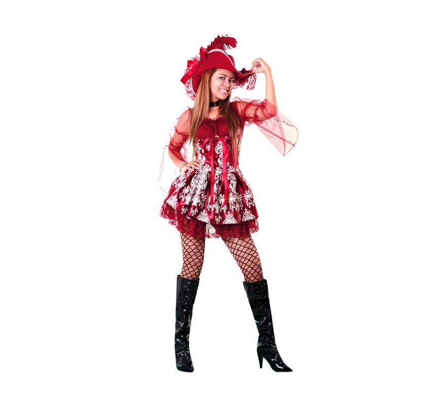 Disfraz de Lady Pirata Granate para mujer. Talla XL = 44/48. Incluye vestido, gargantilla y sombrero.