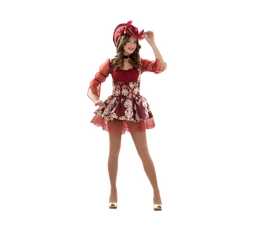 Disfraz de Lady Pirata Granate para mujer. Talla S = 34/38 y para chicas de 14 a 16 años. Incluye vestido, gargantilla y sombrero.