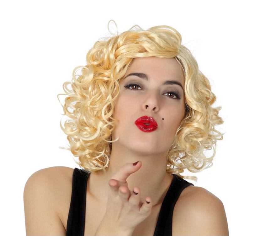 Peluca rubia de Marilyn rizada. También podría valer como peluca de Sandy de Grease y de Marilyn.