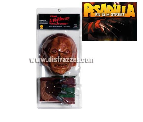 Kit de Freddy Krueger en blister para Halloween. Talla Standar. Incluye camiseta, máscara y guante con cuchillas.