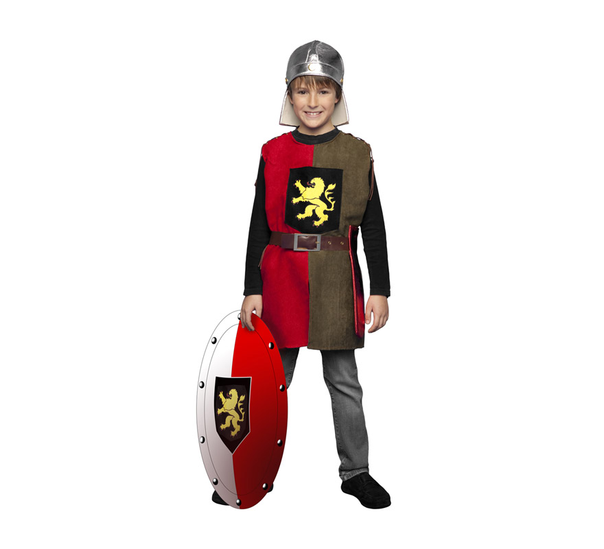 Disfraz de Soldado Medieval del León para niños de 7 a 9 años. Incluye casco (de tela), casaca, cinturón y funda de espada. Escudo NO incluido, podrás ver algunos tipos de escudos en la sección de Complementos.