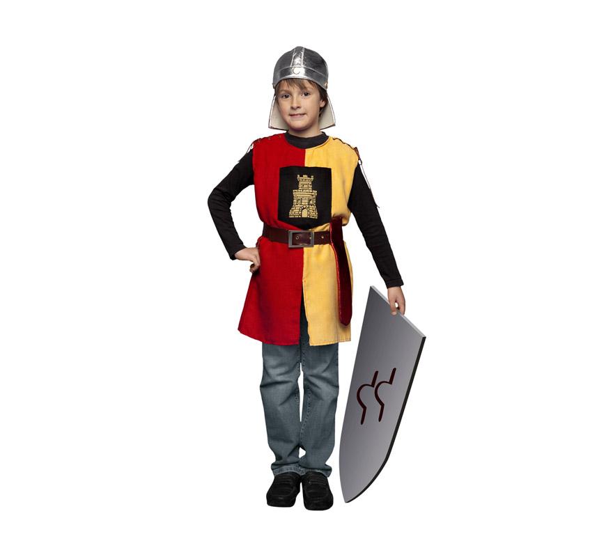 Disfraz de Soldado Medieval de la Torre para niños de 7 a 9 años. Incluye casco (de tela), casaca, cinturón y funda de espada. Escudo NO incluido, podrás ver algunos tipos de Escudos en la sección de Complementos.