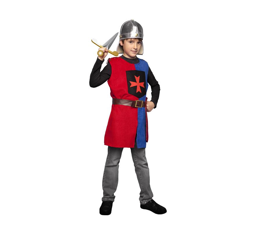 Disfraz de Soldado Medieval de la Cruz para niños de 7 a 9 años. Incluye casco (de tela), casaca, cinturón y funda de espada. Espada NO incluida, podrás ver espadas en la sección de Complementos.
