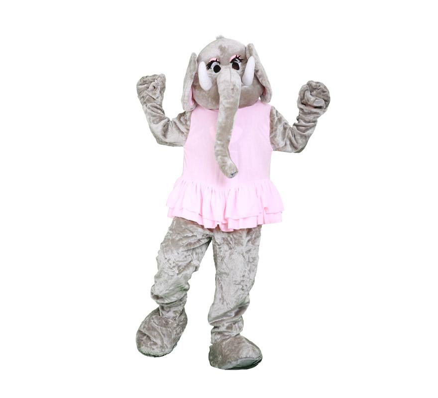 Disfraz o Mascota Elefante. Talla Universal de adultos. Incluye cabeza, mono con guantes y cubre zapatos. Perfecta para Grupos de Animación Infantil, Hoteles, etc.