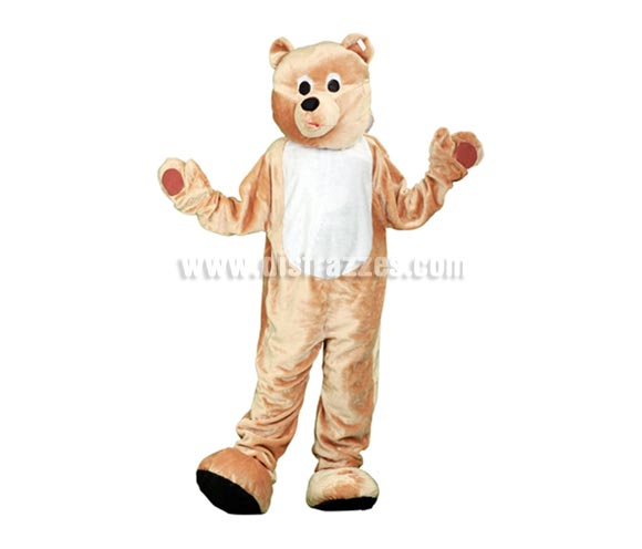 Disfraz o Mascota Oso. Talla Universal de adultos. Incluye cabeza, mono con guantes y cubre zapatos. Perfecta para Grupos de Animación Infantil, Hoteles, etc.
