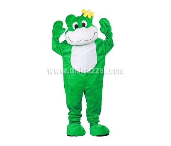 Disfraz o Mascota Rana. Talla Universal de adultos. Incluye cabeza, mono con guantes y cubre zapatos. Perfecta para Grupos de Animación Infantil, Hoteles, etc.