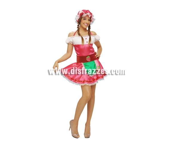 Disfraz de Fresa o  Fresita para mujer. Talla standar M-L = 38/42. Incluye vestido, sombrero y cinturón.