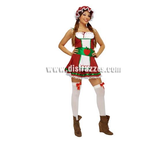 Disfraz de Manzana o Manzanita para mujer. Talla standar M-L = 38/42. Incluye vestido, cinturón, sombrero y 2 ligas. Medias NO incluidas.