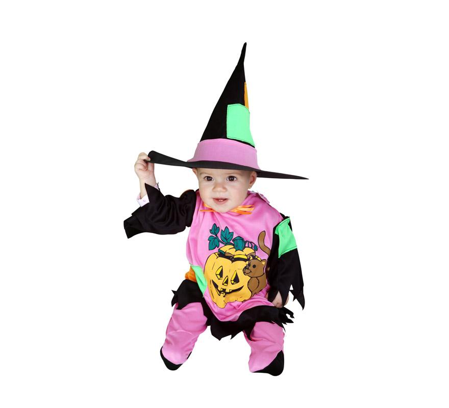 Disfraz de Bruja o Brujilla para bebés de 6 a 12 meses. Incluye vestido y gorro.