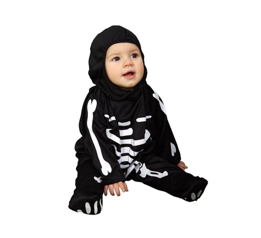 Disfraz de Esqueleto para Bebés de 6 a 12 meses. Incluye mono y gorro.