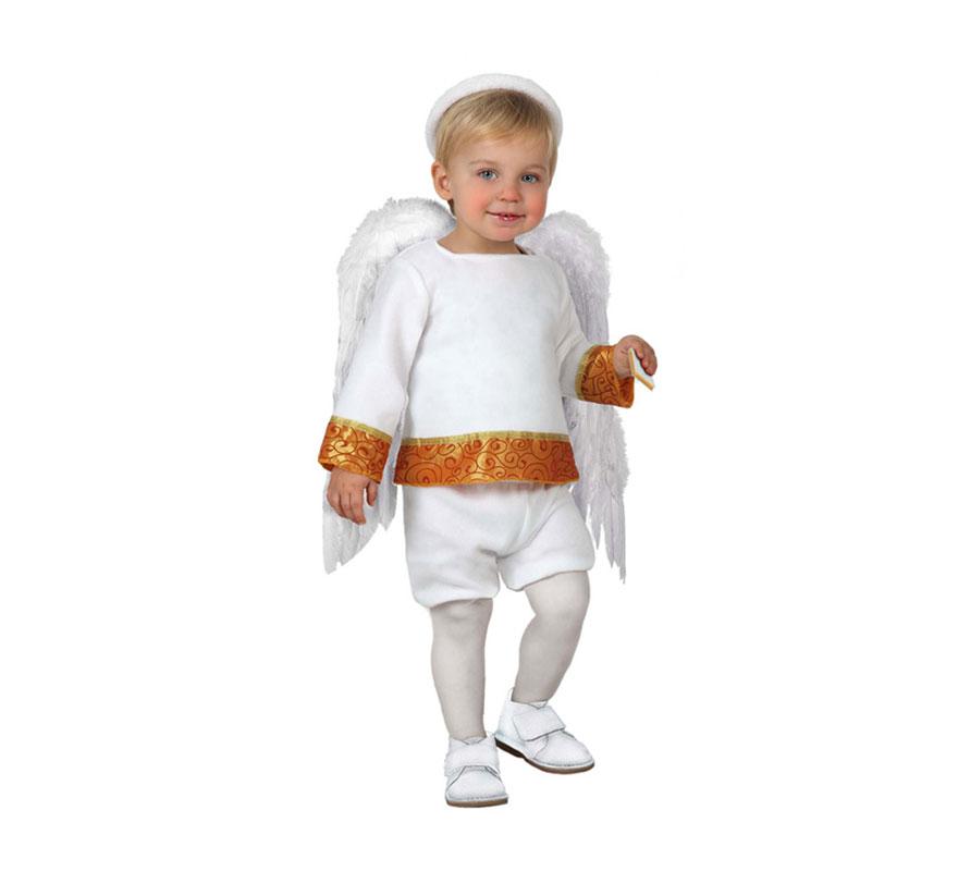 Disfraz de Ángel Baby o Angelito para bebés de 12 a 24 meses. Incluye pantalón, camiseta y cinta de la cabeza. Las Alas las podrás ver en la sección de Accesorios.