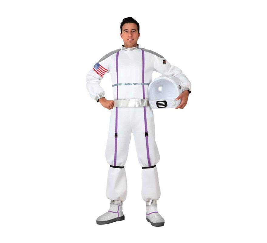 Disfraz Astronauta para hombre. Talla M-L = 52/54. Incluye mono impreso y cinturón. Casco NO incluido, lo podrás encontrar en nuestra sección de Accesorios con la referencia 16547AT.