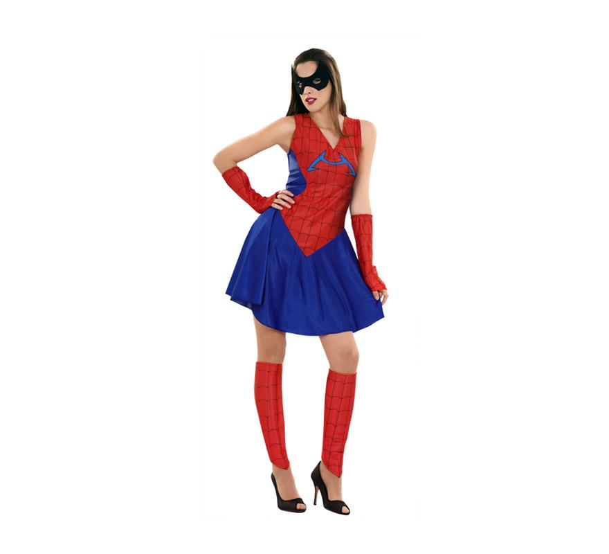 Disfraz barato de Insecto Araña para mujer. Talla standar M-L 38/42. Incluye vestido, calentadores, brazaletes y antifaz. Ideal para ser la mujer o pareja de Spiderman.
