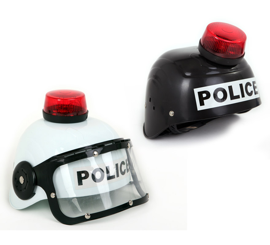 Casco de Policía con alarma, luz y sonido 2 colores