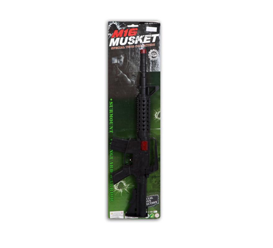 Fusil o Metralleta de Combate de 49cm. Ametralladora ideal para los disfraces de Militar, Policía, Swat, Gánster, etc.