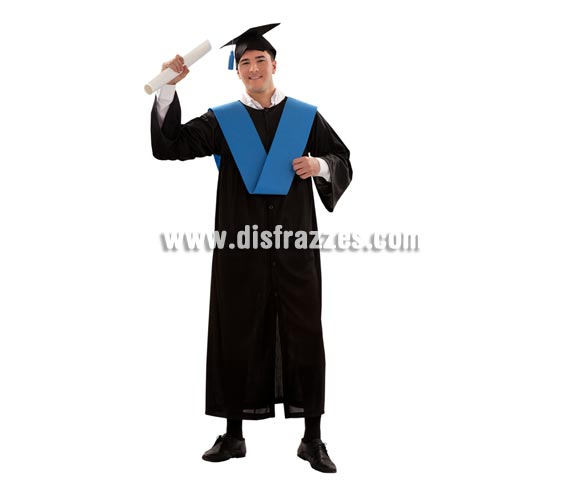 Disfraz de Graduado adulto barato para Carnaval. Talla S para hombres delgados = 48/52, también valdría para mujeres talla M-L, o para adolescentes o para niños grandes que la talla 10-12 le pueda quedar pequeña. Incluye birrete, beca y toga.