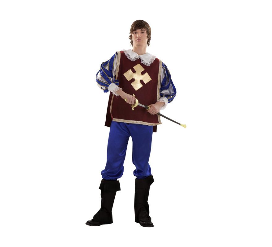 Disfraz de Mosquetero adulto para hombre. Talla S = 48/52 para chicos delgados y adolescentes. Incluye camisa, pantalón, cubrebotas y peto. Espada NO incluida, podrás verla en la sección Complementos.