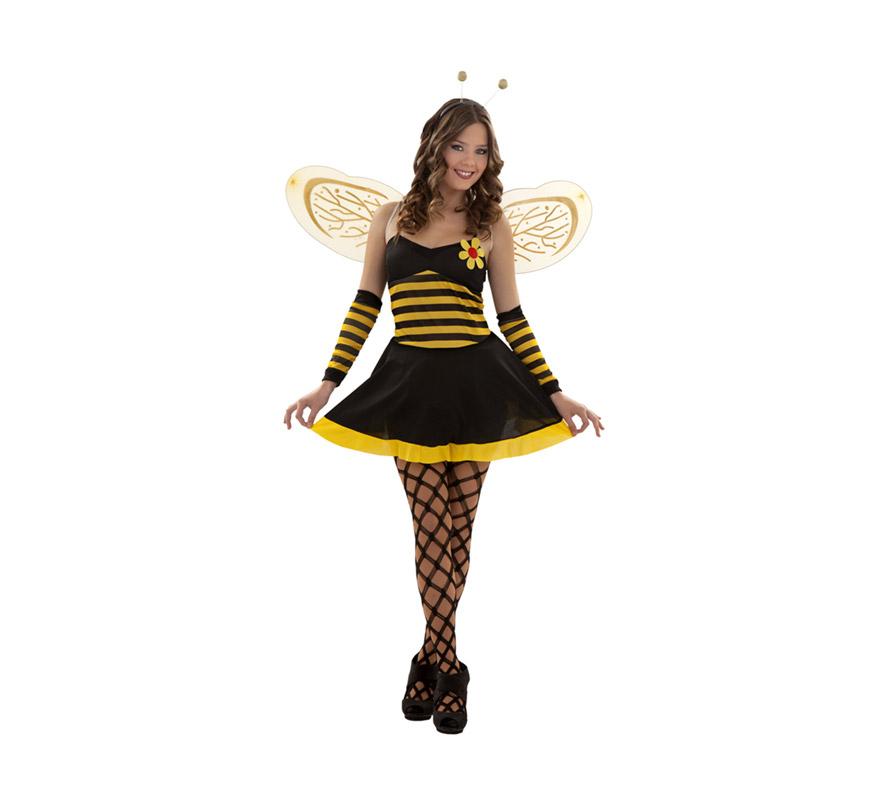 Disfraz barato de Lady Avispa sexy adulta. Talla S = 34/38. También talla de 14 a 16 años. Incluye vestido, alas, antenas y manguitos. Medias y zapatos NO incluidos. Disfraz de Abeja Sexy para mujer.