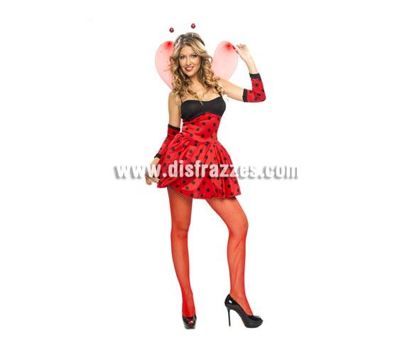 Disfraz de Lady Mariquita para chicas. Talla standar S para chicas delgadas y para adolescentes. Incluye vestido, alas, tocado y guantes. Medias y zapatos NO incluidos. Disfraz de Mariquita Sexy para chicas.