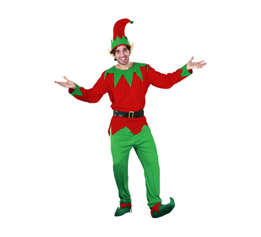 Disfraz de Elfo adulto para Navidad y para Carnaval. Talla S = 48/52 y para chicos de 14 a 16 años. Incluye camisa, pantalones, cinturón, cubrepies, orejas y gorro. Disfraz de Duende o Enanito.