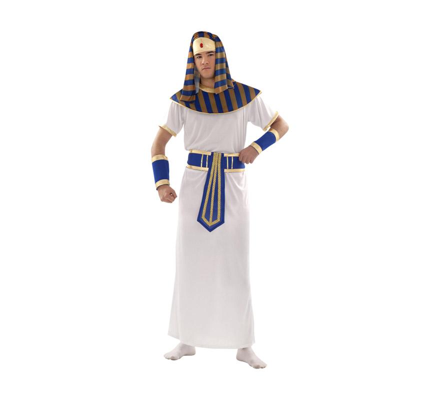Disfraz de Faraón adulto. Talla S = 48/52 y para chicos de 14 a 16 años. Incluye tocado de la cabeza, cuello, túnica, cinturón y muñequeras. Disfraz de Egipcio, Tutankamon o Ramses para hombre.
