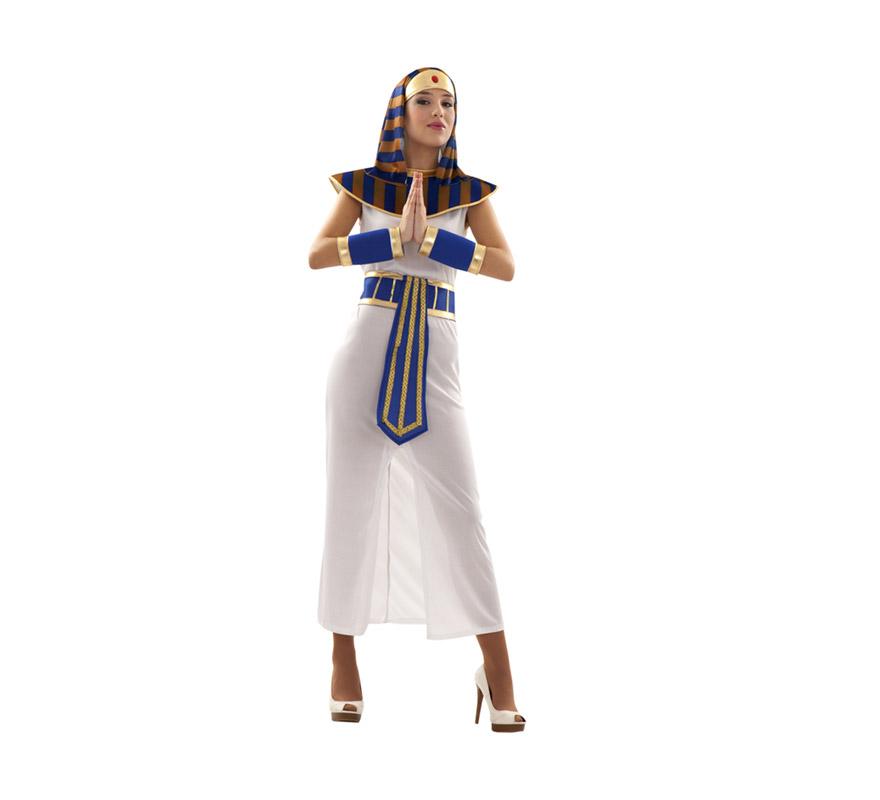 Disfraz de Faraona para chicas talla S = 34/38, también para chicas de 14 a 16 años. Incluye tocado de la cabeza, cuello, túnica, cinturón y muñequeras. Disfraz de Egipcia o Cleopatra para mujer.