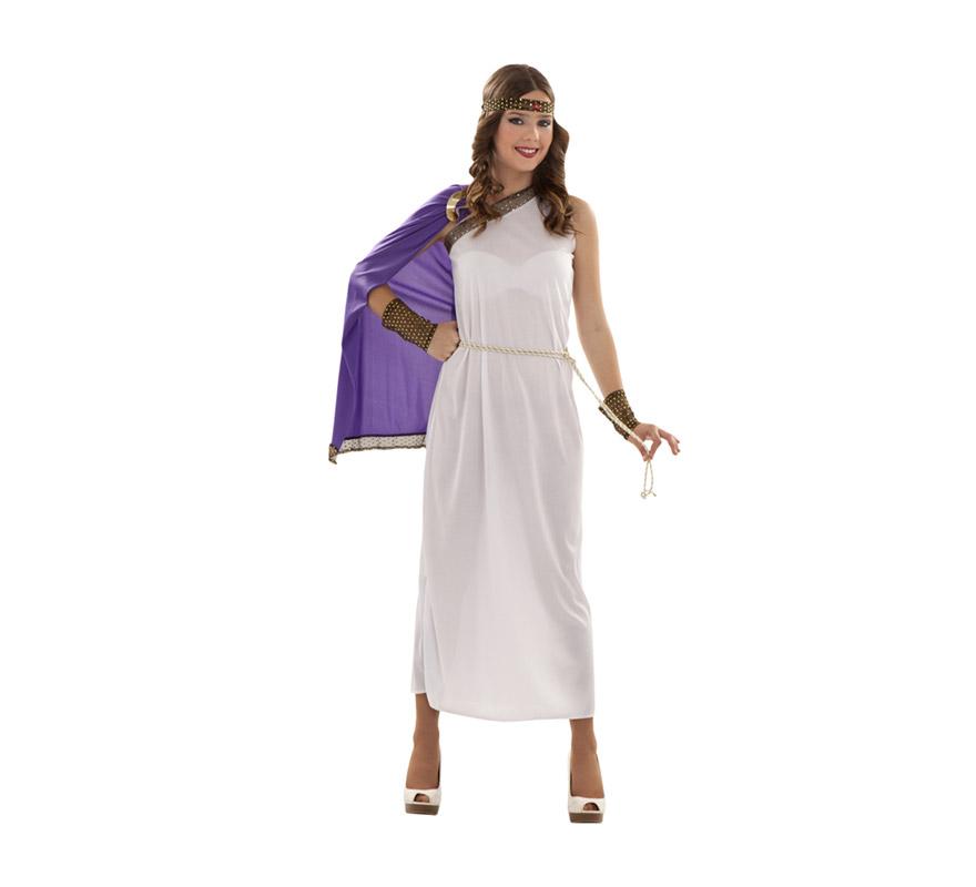 Disfraz de Diosa del Olimpo. Disfraz de Romana para chicas talla S = 34/38 y para chicas de 14 a 16 años. Incluye vestido, capa y tocado.