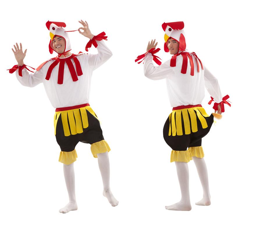 Disfraz de Gallo para chicos talla S = 48/52 y para chicos de 14 a 16 años. Incluye gorro, camisa y pantalón con cola. Un disfraz super divertido y original que causa sensación y que da mucho juego, perfecto para Carnaval y para Fiestas Populares.