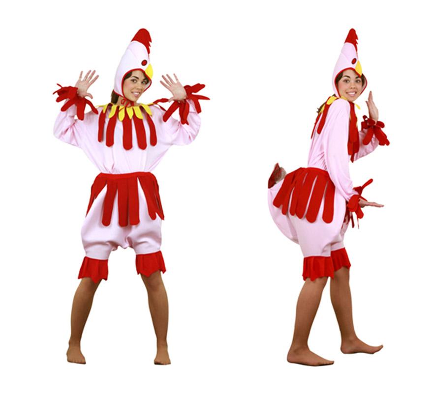 Disfraz de Gallina rosa para chicsa talla S = 34/38 y para chicas de 14 a 16 años. Incluye camisa, pantalón y gorro. Un disfraz muy divertido y cachondo para Carnaval o para cualquier Fiesta.