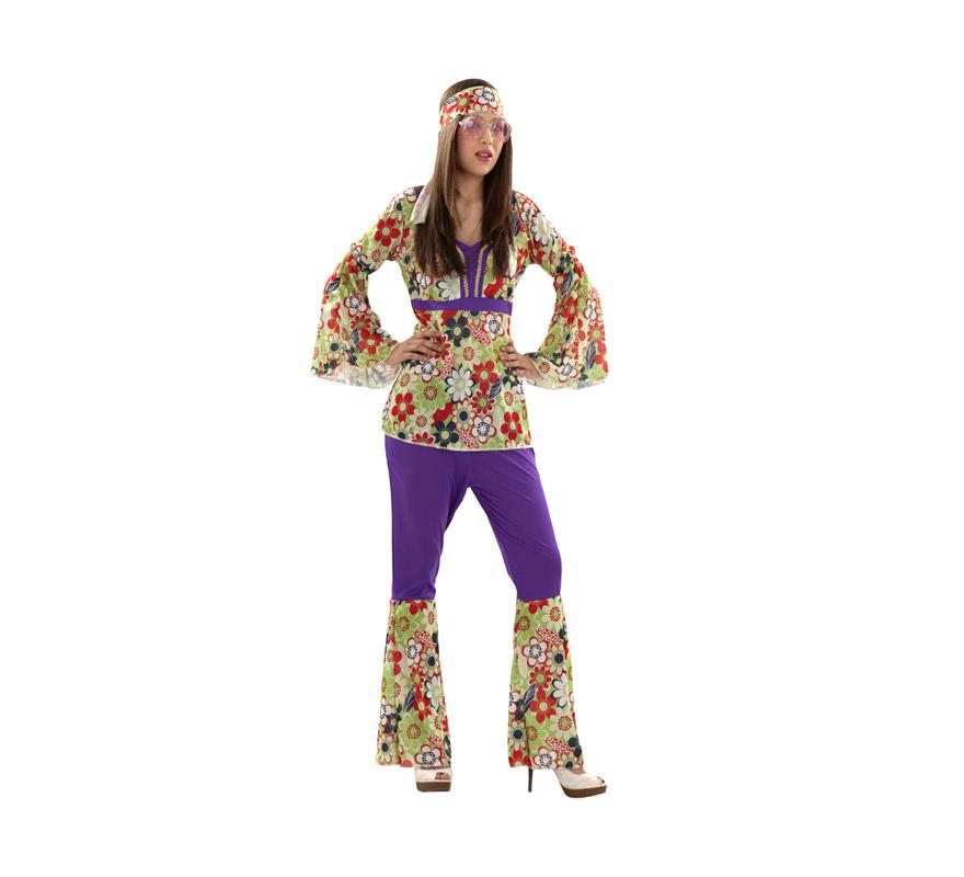 Disfraz barato de Hippie para chicas. Talla S 34/38 para chicas delgadas y adolescentes. Incluye camisa, pantalón y cinta de la cabeza. Paz y Amor!! Disfraz de chica Hippy para mujer.
