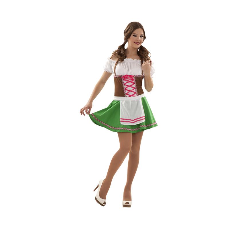 Disfraz de Tirolesa sexy para mujer. Talla S 34/38 para chicas delgadas y para adolescentes. Incluye vestido y delantal.