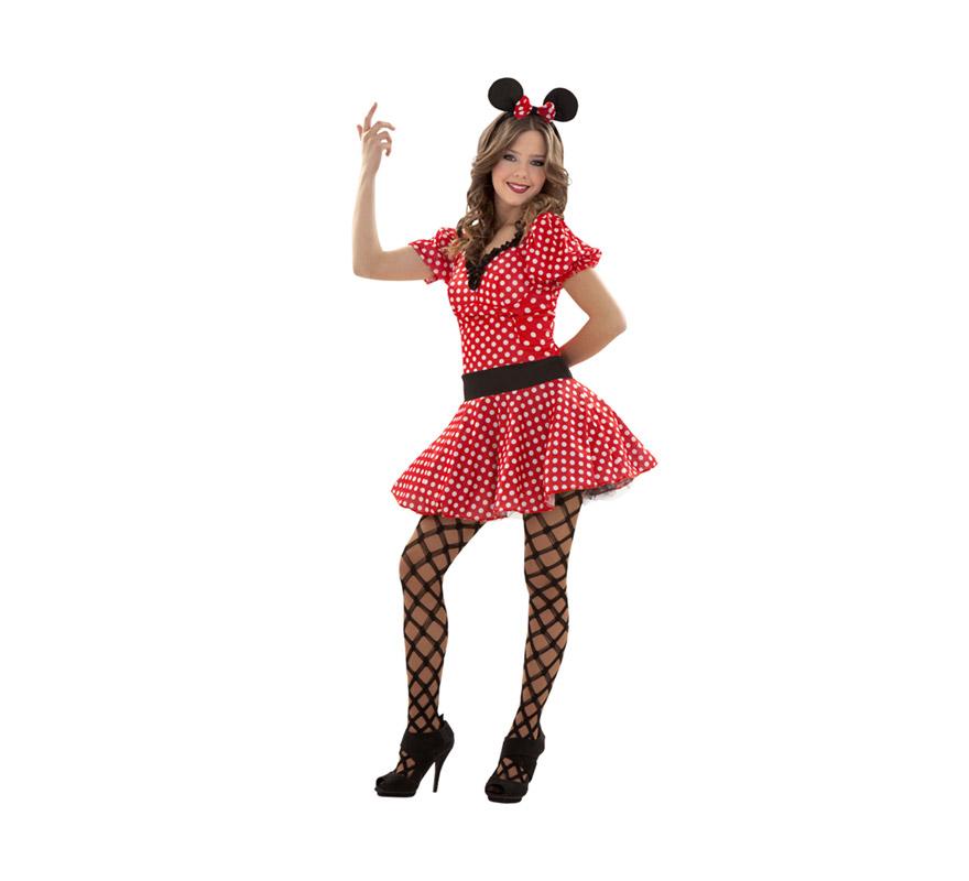 Disfraz barato de Ratoncita o Ratita Sexy para chicas talla S = 34/38 y para chicas de 14 a 16 años. Incluye vestido y diadema con orejas y lazo. Medias NO incluidas, podrás verlas en la sección de Complementos. Éste traje es genial para Despedidas de Soltera y para cualquier Fiesta en la que quieras imitar a Minni Mouse. La pareja de éste modelo es la ref. 09158BT.