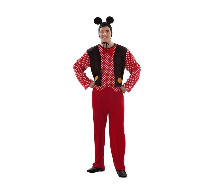 Disfraz barato de Sr. Ratón para chicos talla S = 48/52 y para chicos de 14 a 16 años. Incluye pajarita, gorro, camisa, chaqueta y pantalón. Este traje es perfecto para Despedidas de Soltero y para imitar a Micki Mouse y reirte un rato. Éste traje tiene como pareja la ref. 09155BT.