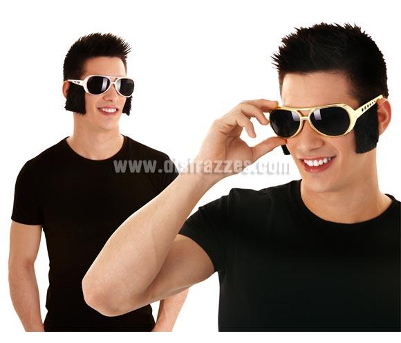 Gafas de Elvis o Rockero con patillas negras. Disponible en 2 colores. Precio por unidad, se venden por separado. Talla universal.