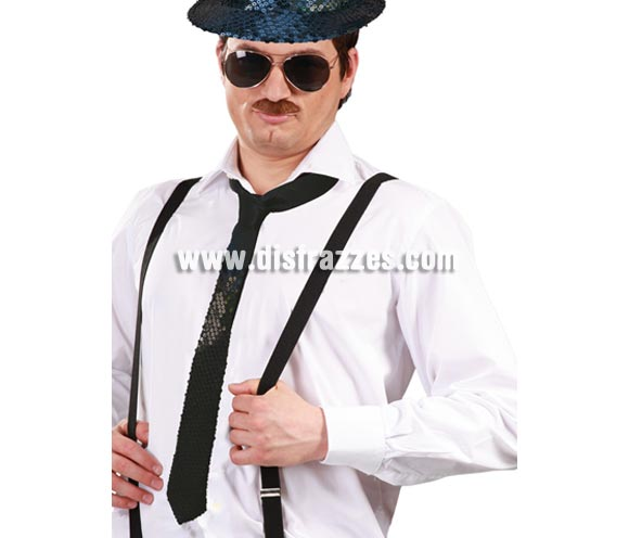 Corbata lentejuelas de color negro.