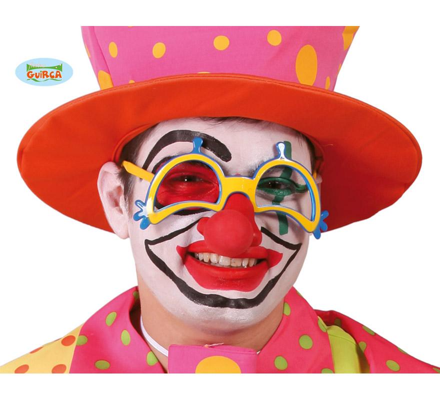 Gafas de Payaso con nariz. Perfectas para el disfraz de Payaso.