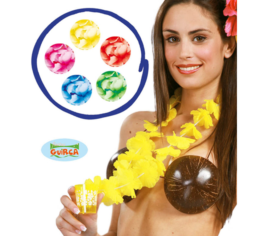 Collar Hawaiano de flores con vasito varios colores. Precio por unidad, se venden por separado. Perfecto para Despedidas de Soltera y Soltero por el tema del chupito.