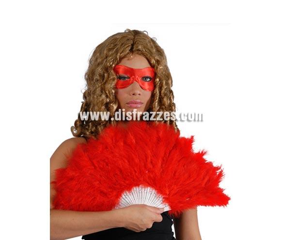 Abanico rojo de plumas 21 palas. Perfecto para disfraces de Can Can o Cabaret, también para los disfraces de Diablesa en Halloween.