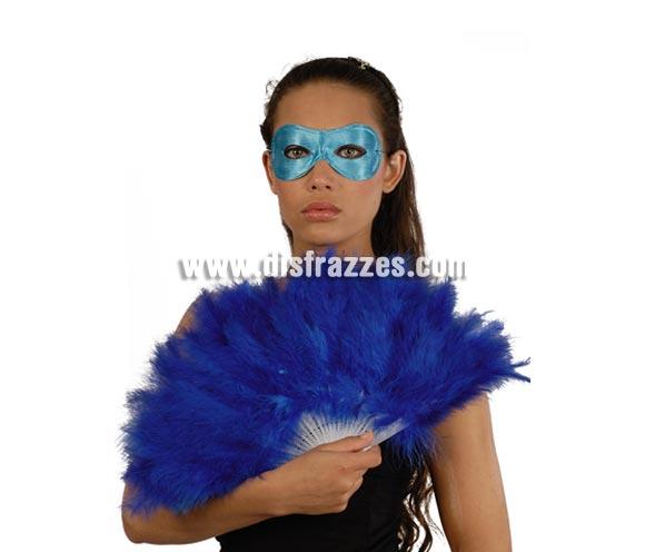 Abanico azul de plumas 21 palas. Perfecto para disfraces de Can Can o Cabaret.