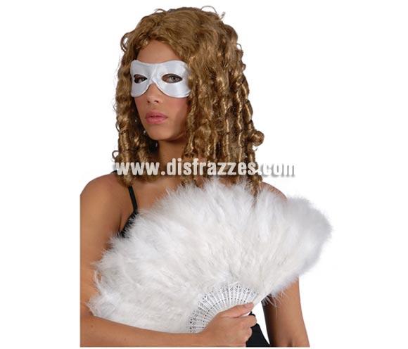 Abanico blanco de plumas 21 palas. Perfecto para disfraces de Can Can o Cabaret.