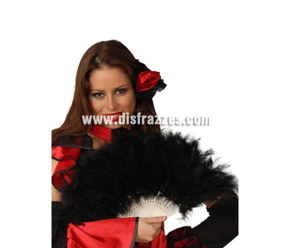 Abanico negro de plumas 21 palas. Perfecto para disfraces de Can Can o Cabaret.