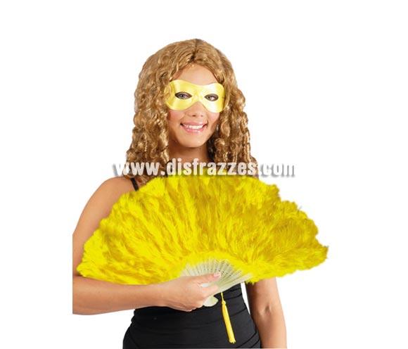 Abanico amarillo de plumas 21 palas. Perfecto para disfraces de Can Can o Cabaret.