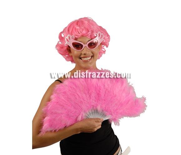 Abanico rosa de plumas 21 palas. Perfecto para disfraces de Can Can o Cabaret.